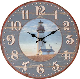 Lily's Home Rustic Wood-Style Country Lighthouse Wall Clock, Fits Nautical or..