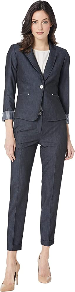 Pants Suit with Turn Cuff One-Button Jacket