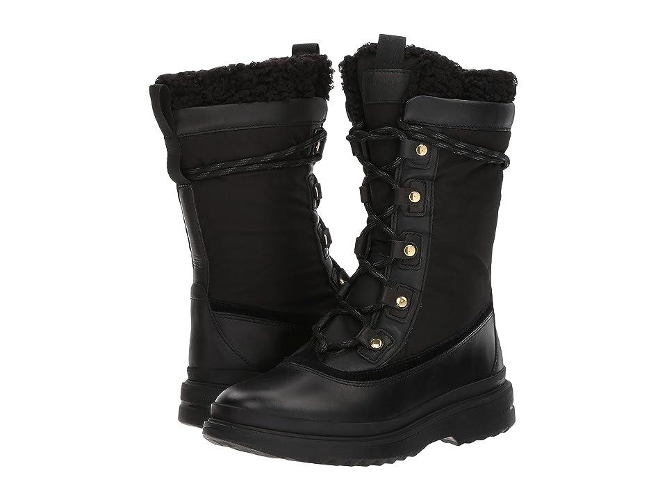 Cole Haan Millbridge Lace-Up Boot Waterproof (Black Leather Waterproof/Black Faux Shearling) Women