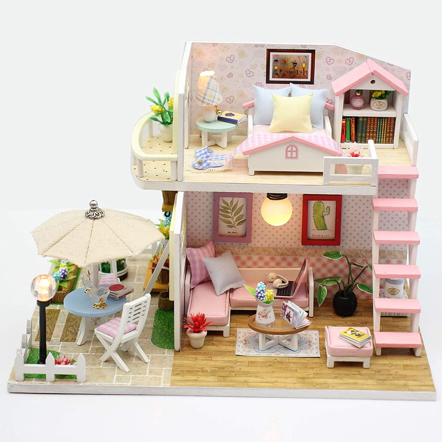 Indianapolis Mall WADILE DIY Miniature Dollhouse Kit Dust with House Large special price !! Proo