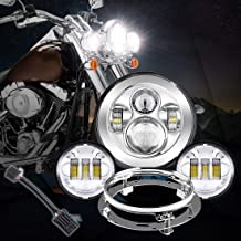 7 inches Chrome Motorcycle Led Headlight Fog Passing Lights DOT Kit Set for Touring Road King Ultra Classic Electra Street Glide Tri Cvo Heritage Softail Deluxe Fatboy Chrome