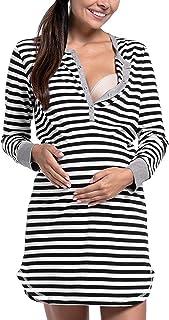Yacun Camisión Lactancia Camiseta Raya Premamá Vestido