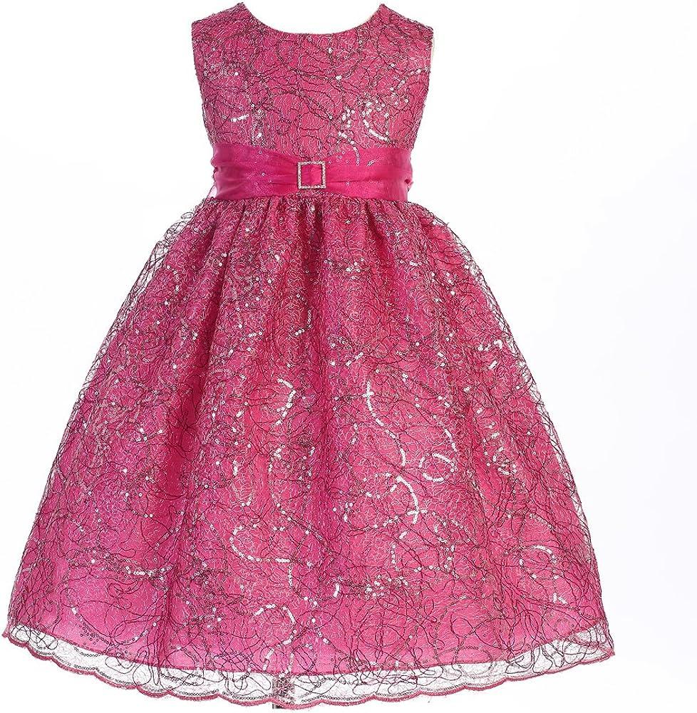 Crayon Kids Big Girls Fuchsia Lace Overlay Satin Sash Christmas Dress 9/10