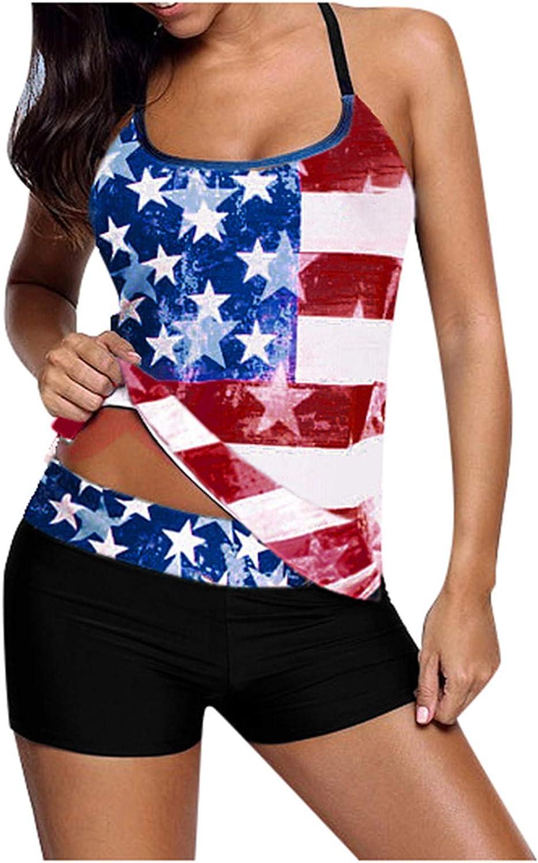 XUHUA Women's Plus Size Bikini Set American Flag Crisscross Back Swimskirt Two Piece Swimsuit Bathing Suits Swimwear