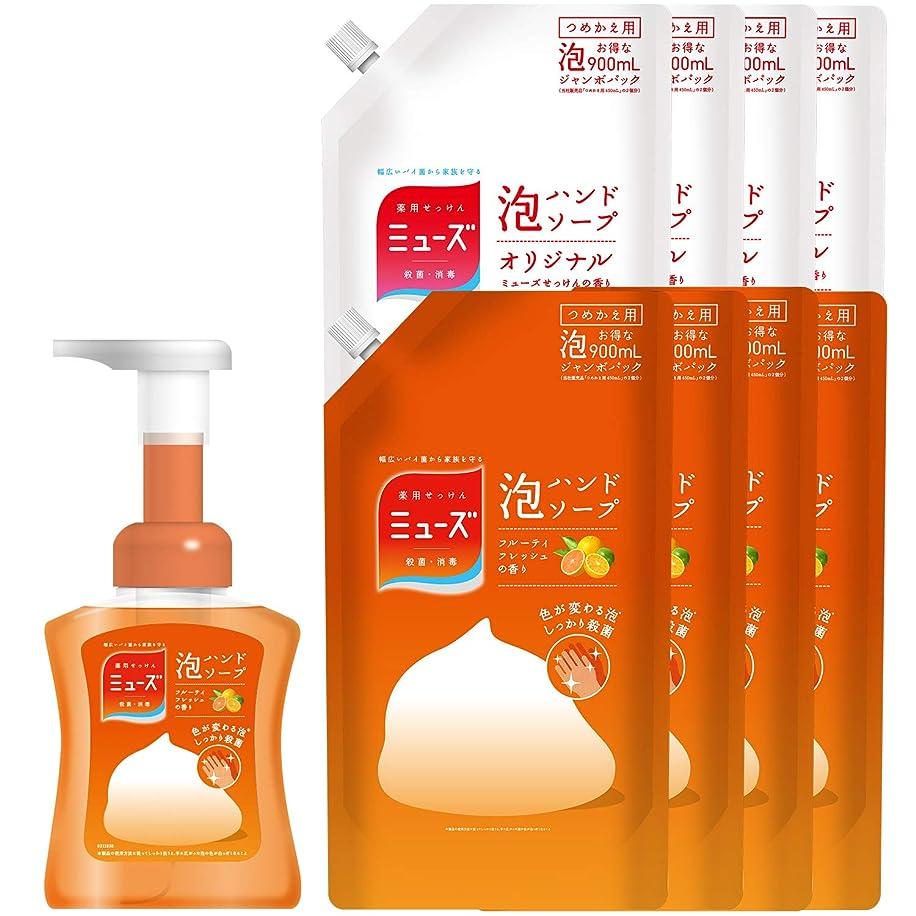 反対に腰国際【セット品】薬用せっけんミューズ 泡ハンドソープ フルーティフレッシュの香り 色が変わる泡 本体ボトル 250ml+詰替え2種 セット