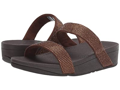 FitFlop Lottie Shimmer Crystal Slide (Bronze/Chocolate Brown) Women
