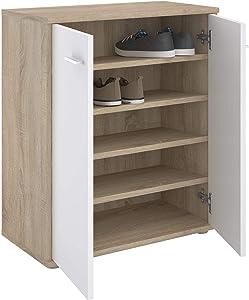 IDIMEX Meuble à Chaussures Olympe, Commode Meuble de Rangement avec 2 Portes avec 4 tablettes intérieures, en mélaminé décor chêne Sonoma et Blanc Mat