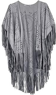 Women's Faux Suede Kimono Cape Fringed Asymmetric Cover up Shawl