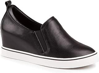 Baldi Women Slip On Shoes Cruim Black/Red/White Leather Ankle High Wedge Platform Slipon Comfortable Casual Breathing Sneakers