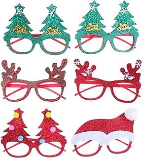 Amosfun 6Pcs Christmas Glasses Frame Xmas Glitter Eyeglasses Christmas Tree Hat Eyeglasses Eyewears for Christmas Holiday Birthday Party Supplies Favors Goodie Bag fillers