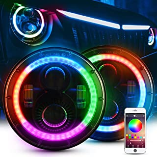 MICTUNING 7 Inch RGB LED Headlights Halo Angel Eyes DRL Bluetooth Control for Jeep Wrangler JK LJ TJ