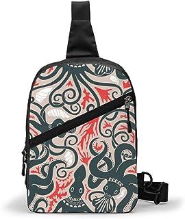 Minoan Octopus Pattern Ancient Greek Animals Chest Package Multipurpose Crossbody Sling Backpack Outdoor Shoulder Bag Trav...