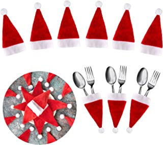 U_star 20 pcs Mini Santa Hats Christmas Santa Hats Silverware Holders Xmas Silverware Holder Thanksgiving Decorations