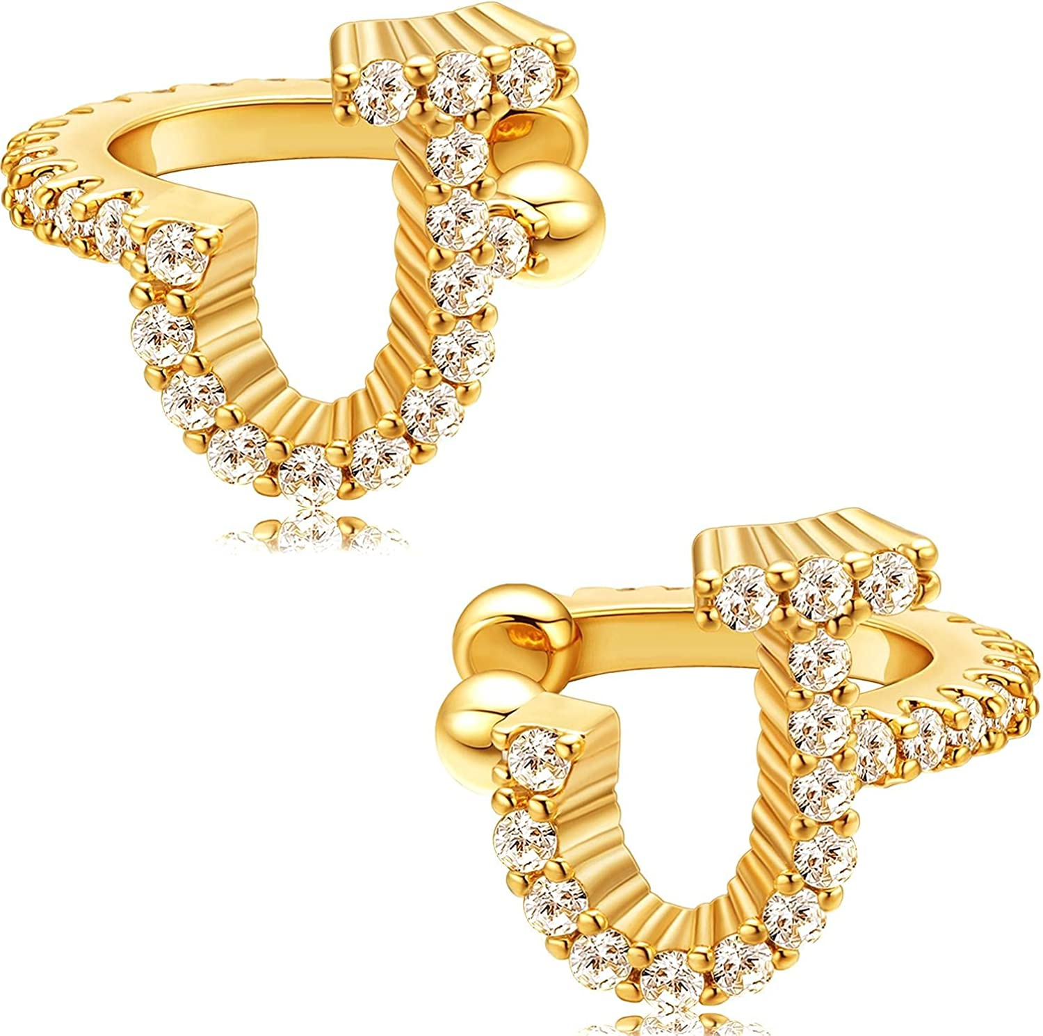 Tulsa Mall MBW Initial Ear Cuffs Earrings 18K Max 81% OFF Silver Plated Dainty Tin Gold