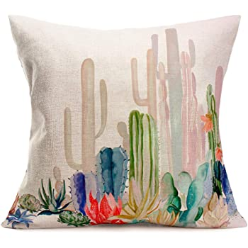 Spring Garden with Boho Style Bouquet of Thorny Plants Blossoms Arrows Feathers Ambesonne Cactus Throw Pillow Cushion Cover Decorative Square Accent Pillow Case White Pearl 16 X 16