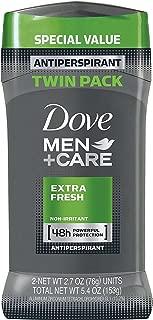 Dove Men+Care Antiperspirant Deodorant Stick, Extra Fresh, 2.7 oz, Twin Pack