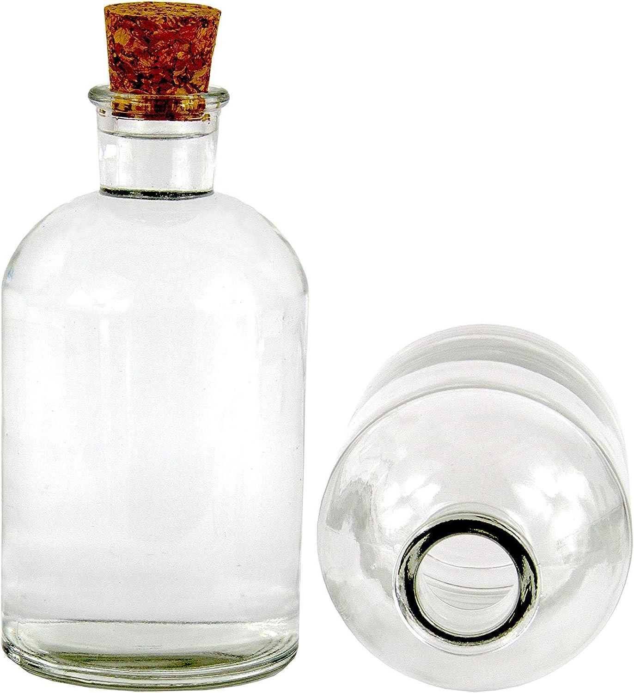casavetro Tapón de Corcho Transparente Botellas de Vidrio vacías 25 ml - Tapas de Corcho Recargables Reutilizables - Apretado al Aire para endrinas ...