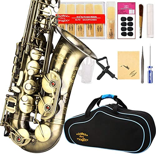 Glory High Grade Antique finish series PR2, E Flat Alto Saxophone with 11reeds,8 Pads cushions,case,carekit