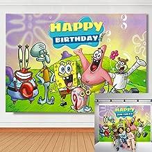 TJ 5x3FT Vinyl Cartoon Spongebob Patrick Star Photography Backdrops Happy Birthday Theme Party Decor Background Children Photo Booth Studio Props