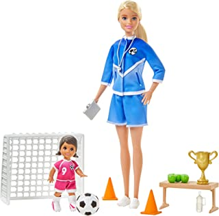 Barbie Soccer Coach Playset with Blonde Soccer Coach Doll, Student Doll and Accessories: Soccer Ball, Clipboard, Goal Net, Cones, Bench and More for Ages 3 and Up