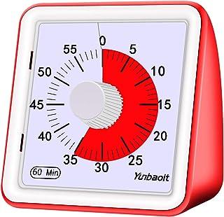 Temporizador analógico visual de 60 minutos, reloj de cuenta atrás, sin sonido fuerte, herramienta de gestión de tiempo para niños y adultos, ABS, de Yunbaoit