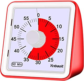 Yunbaoit 60-minute Visual Analog Timer,Countdown Clock,No Loud Ticking,Time Management Tool for Kids and Adults, Cooking, Red