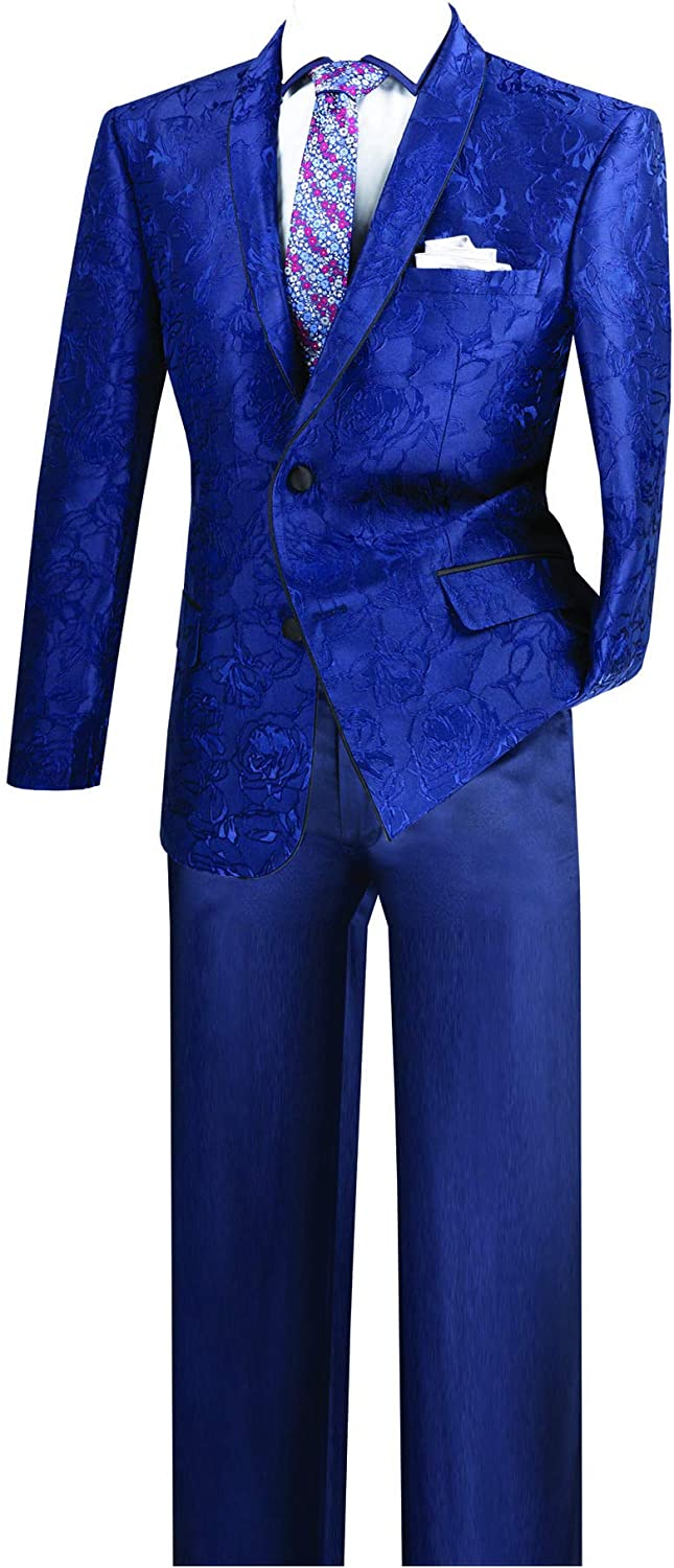 VINCI 2 Button Single Breasted Slim Fit Floral Pattern Sport Coat BSF-10
