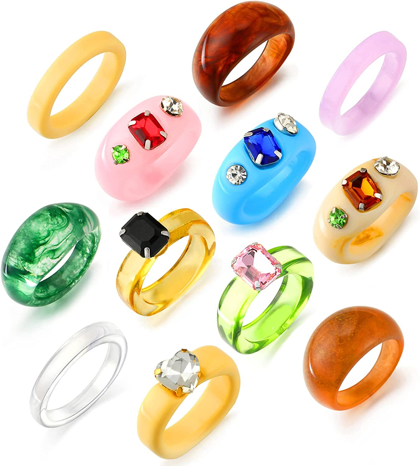KOHOTA 12PCS Retro Resin Acrylic Rings Set for Women Vintage Plastic Resin Inlaid Square Crystal Ring Colorful Statement Chunky Rings