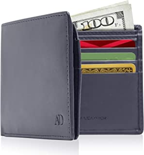Vegan Leather Slim Wallets For Men - Cruelty Free Mens Wallet Bifold With Flip Up ID Window With Gift Box RFID Blocking