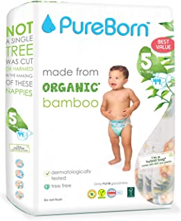 PureBorn Disposable Baby Diapers, Size 5-11 to 18 Kg, 44 Count - Assorted Prints