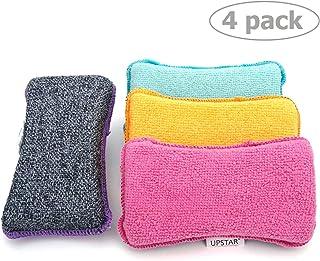 UPSTAR Microfiber Scrubber Sponge - Non-Scratch Kitchen Scrubbies, Dishwashing and Bathroom Sponges, Pack of 4, Size 6x3x1...