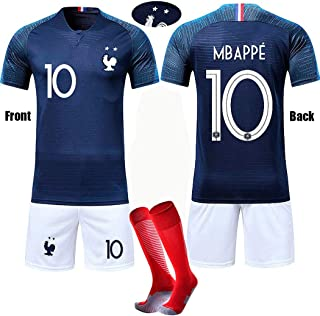 French Football Jersey 2018 MBAPPE #10 Children's Soccer Jersey 2 Star T-Shirt Short Color Blue