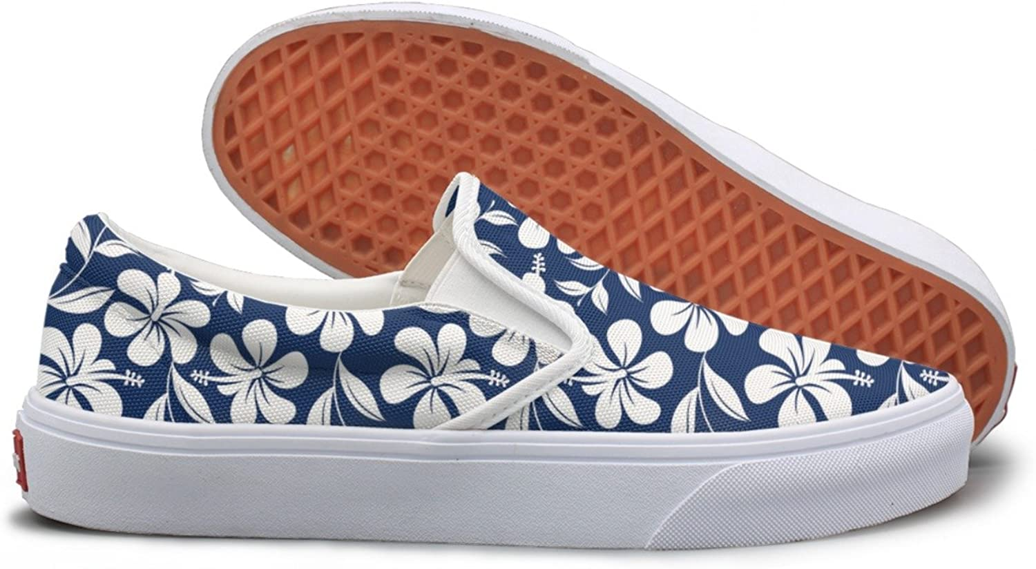 bluee And White Tropical Hibiscus Flowers Sneaker For Women