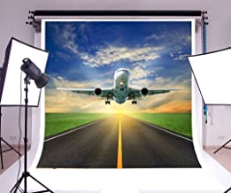 Laeacco 6x6ft Vinyl Backdrop Photography Background Airplane Take Off Runway Airport Open Grass Field Couldy Sky Holiday Party Birthday Boys Backdrop Photo Studio Props