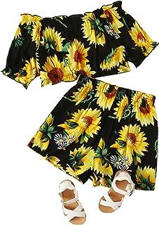 Floerns Girls 2 Piece Sunflower Off Shoulder Frill Trim Tops and Shorts Set