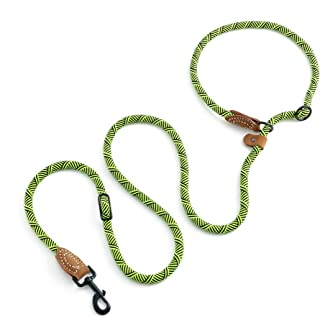 Mile High Life | Dog Rope Leash | Dog Slip Rope Lead | Dual Configuration | 6 1/4FT with Heavy Duty Metal Sturdy Clasp (Multi- Colors)
