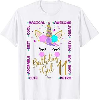 11th Unicorn Birthday Girl Shirt Eleven years old Kids gift