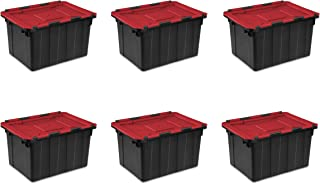 Sterilite 14619006 12 Gallon/45 Liter Hinged Lid Industrial Tote, Racer Red Lid w/ Black Base, 6-Pack