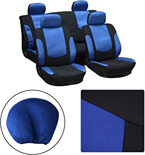 OCPTY Car Seat Cover, Stretchy Universal Seat Cushion w/Headrest 100% Breathable Automotive Accessories with Durable Washable Mesh/Polyester for Most Cars(Black/Blue)