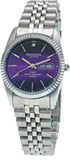 Swanson Japan Men's Silver Day-Date Lilac Vignette Index Dial Watch with Travel Case