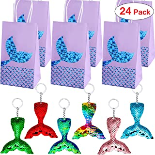 Danirora Mermaid Keychains, [24 Pack] Mermaid Party Favors with Party Gift Bags for 12 Girls Birthday Party Supplies Goodi...