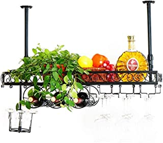 XHCP Organisation de Rangement de Cuisine Supports à Verres à Pied en métal |Porte-Bouteille de vin Suspendu monté au Pla...