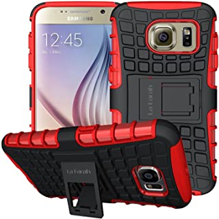 Samsung Galaxy S6 Protective Case, La Farah Rugged Armor Heavy Duty Phone Case with Kickstand,Protective Cover for Samsung Galaxy S6 (Red)