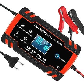 Motorrad Rasenm/äher oder Boot TOPERSUN Autobatterie Ladeger/ät 12V//24V 8A Batterieladeger/ät Auto intelligente Vollautomatisches Ladeger/ät mit LCD Bildschirm f/ür Auto