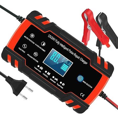 Yomao Autobatterie Ladegeräte 8a 12v 24v Vollautomatisches Batterieladegerät Kfz Mit Lcd Bildschirm Erhaltungsladegerät Für Auto Und Motorrad Für Batterien Von 6ah 150ah Auto