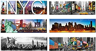 6 set - New York Panoramic Photo Magnets NYC Souvenir Gift Set 5x1.6 Inches