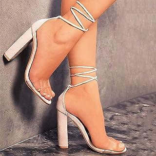 Crazyfly Sandalias de tacón alto con correa de tobillo para mujer, cómodas, antideslizantes, con cordones, puntera abierta...