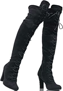 Women's Over The Knee Faux Suede Pull On Thigh High Stiletto Boots - Hidden Platform