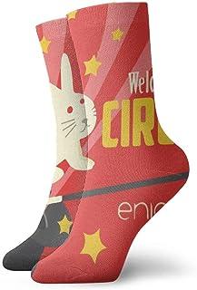 Viejo sombrero de conejo de circo Calcetines cortos transpirables Calcetines clásicos de algodón de 30 cm para hombres Mujeres Yoga Senderismo Ciclismo