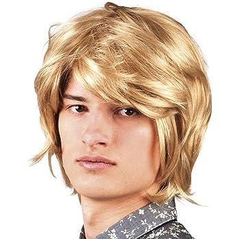 WIG ME UP /® PW0174-ZA83 Parrucca Uomo Corta Riga Carnevale Vecchio Nonno Biondo Biondo Oro